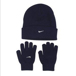 New Nike 2 Piece Boys Beanie Hat & Gloves Set